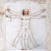 Proportionsschema der menschlichen Gestalt nach Vitruv – Skizze von Leonardo da Vinci, 1485/90, Venedig, Galleria dell' Accademia